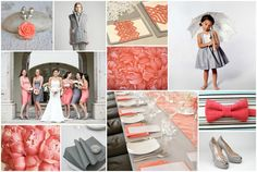 wedding decoration in coral, cream, and gray | Coral and Grey Inspiration