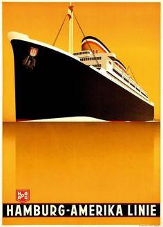 Ottamar Anton , travel poster Hamburg Amerika Linie, ca. 1935, Hamburg