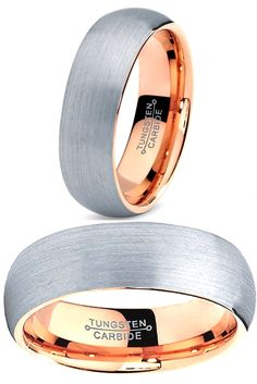 What is there not to love about this mens wedding band! It is made out of tungsten carbide and rose gold.
