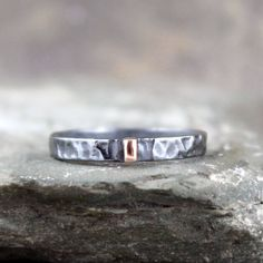 14K Rose Gold and Black Sterling Silver Band - Flat Pipe Style - Men's or Ladies Jewellery - 3mm Wedding Bands - Mixed Metal - Stacking Ring