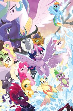 That's a lot of ponies. MLP The Movie Prequel TPB Cover Dessin My Little Pony, My Little Pony Poster, My Little Pony Movie, My Little Pony Cartoon, My Little Pony Princess, My Little Pony Characters, My Little Pony Drawing, My Little Pony Pictures, My Little Pony Twilight