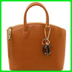 Tuscany Leather TL KeyLuck - Saffiano leather tote - Small size Cognac Leather handbags - Totes (*Amazon Partner-Link)