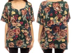 Rose Shirt Floral Tee Scoop Neck Shirt 90s GRUNGE by ShopExile