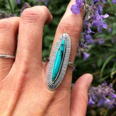 Beautiful Hubei turquoise Eclipse ring off to its new home! Silver Stacking Rings, Sterling Silver Rings, Mother Daughter Necklace, Thumb Rings, Circle Necklace, Rocks And Minerals, Hand Engraving, Gifts For Her, Gemstone Rings