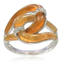 Charles Albert Sterling Silver   Sterling Silver Fancy Shape Botswana Agate With White Topaz Accents ...