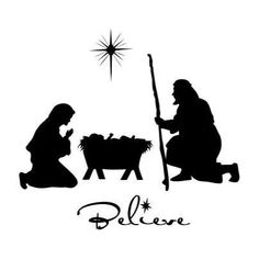 Manger scene vinyl decal displayed with glass etch by WallsThatPop - I love the font for Believe Decoration Christmas, Noel Christmas, Christmas Nativity, Christmas Images, All Things Christmas, Christmas Ornaments, White Christmas, Xmas, Silhouettes