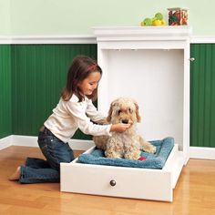 Your dog may be as cute as a button, but the typical dog bed—bulky, obtrusive, matted with fur—not so much. Instead of banishing his sleeping spot to the basement, build a pint-size Murphy bed that stows a sleeping pad inside a handsome built-in cabinet