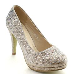 Top Moda APPLE-5 Women's Rhinestone Studded Platform Stiletto Heel Dress Pumps, Color:CHAMPAGNE, Size:9 - http://all-shoes-online.com/top-moda/9-b-m-us-top-moda-apple-5-womens-rhinestone-studded-2