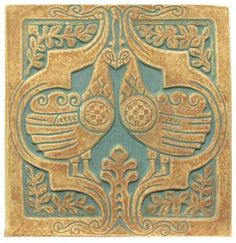 Peacock Tile - Handmade reproduction tile inspired by Ernest Batchelder's Arts & Crafts tiles. Batchelder tiles were made in Pasadena and Los Angeles from 1909 to Clay Tiles, Mosaic Tiles, Pottery Studio, Pottery Art, Art Nouveau Tiles, Vintage Tile, Handmade Tiles, Style Tile, Decorative Tile