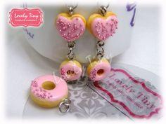 Kawaii Fashion Accessories Handmade Strawberry Donut Charms Pendant, earrings