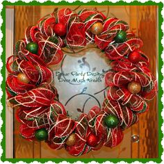 Red & green Christmas deco mesh wreath with ornaments!