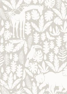 Jungle Animals Wallpaper - Peel and Stick If your kids love animals, they'll love our Jungle Animals Pattern Wallpaper! This subtle and modern print is hand-drawn and available in 6 different colors: 9204 Nursery Wallpaper, Wallpaper Size, Wallpaper Samples, Animal Wallpaper, Fabric Wallpaper, Pattern Wallpaper, Cleaning Walls, Extra Large Wall Art, Traditional Wallpaper