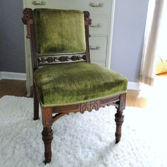Vintage Eastlake Chair Antique Victorian Seating Crushed Velvet Upholstered Armless Chair Moss Emerald Green Jewel Toned Handcarved Hardwood