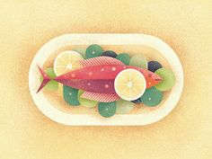 Dinner by Berin Catic Illustration Design Plat, Digital Illustration, Graphic Illustration, Pinterest Instagram, Fruit Art, Graphic Design Tutorials, Illustrations And Posters, Design Reference, Food Art
