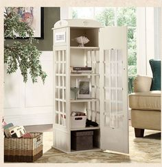 British Vintage Style Telephone Booth Bookcase 4 Colors