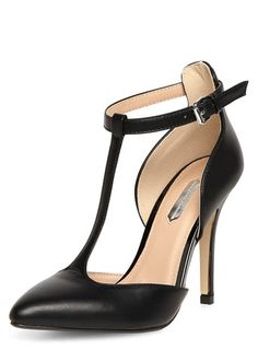 Black T-Bar Pointed High Court Shoes - View All Shoes  - Shoes