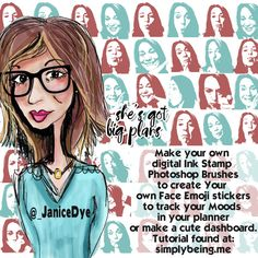 Create Your Own Digital Ink Stamp Brush in Photoshop Cute Planner, Planner Pages, Planner Dashboard, Digital Ink, Emoji Stickers, Ink Stamps, Photoshop Brushes, Selfies, Create Your Own