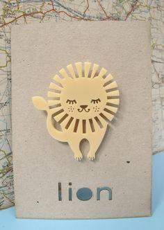 Laser cut retro lion brooch by PeggyPoppletonsShop on Etsy, £9.00