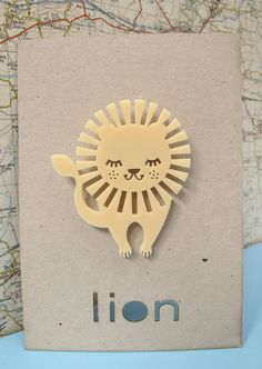 Laser cut retro lion brooch by PeggyPoppletonsShop on Etsy, £9.00