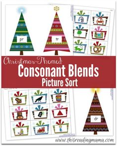 Christmas-Themed Consonant Blends Picture Sort {FREE} - This Reading Mama