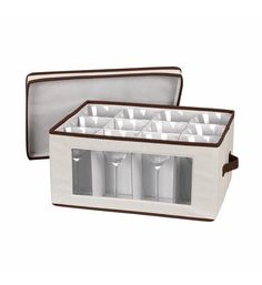 Ideal for protecting holiday dishware, this goblet chest features a front viewing window to ensure contents are easy to see. Riveted handles make it simple to transport or store. China Storage, Brown Trim, Cleaning Wipes, Storage Chest, Make It Simple, Divider, Household, Essentials, Cream