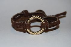 Eternity - Love - Circle - Twisted - Gold - Button - Leather - Suede - Bracelet - Chocolate - Brown