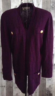 St John By Marie Gray Jacket Cardigan Sweater Top Plum Santana Knit Size Medium #StJohn #Jacket