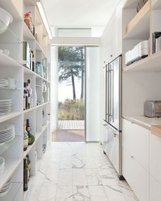 White Galley Kitchen With Open Shelving   Heliotropearchitects   House & Home