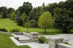 An informal rolling landscape, but with crisp hardscaping lines (by R. P. Marzilli & Company Landscape Contractor)