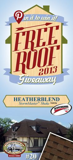 Re-pin this gorgeous StormMaster Shake Heatherblend Shingle for your chance to win in the Sherriff-Goslin Pin It To Win It FREE ROOF Giveaway. Available in Sherriff-Goslin service area only. Re-pin weekly for more chances to win! | Stay Updated! Click the following link to receive contest updates. http://www.sherriffgoslin.com/repin Learn More about this shingle here: http://www.sherriffgoslin.com/tabbed.php?section_url=142