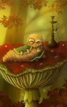 Caterpillar - Alice in Wonderland on Behance Alice In Wonderland Mushroom, Caterpillar Alice In Wonderland, Alice In Wonderland Clipart, Dark Alice In Wonderland, Alice In Wonderland Illustrations, Adventures In Wonderland, Caterpillar Art, Lewis Carroll, Mountain Cabin Decor