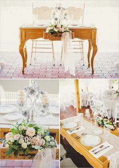 sweetheart table! Cute idea at a wood table and lace runner, maybe buy own plates