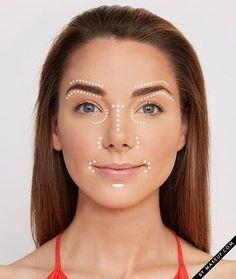 Contorne levemente a pele aplicando corretivo em lugares estratégicos sobre a base. | 7 dicas ridiculamente fáceis de maquiagem que…