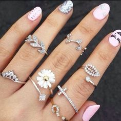 3Pcs Gold Silver Women's Alloy Rhinestone Leaf Above Knuckle Finger Ring Hot