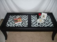 10 unique and creative upcycled coffee tables - Revedecor Coffee Table Redo, Mosaic Coffee Table, Coffee Table With Wheels, Old Coffee Tables, Painted Coffee Tables, Decorating Coffee Tables, Diy Furniture Upgrade, Furniture Makeover, Furniture Refinishing