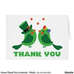 Green Thank You Lovebirds - Wedding, Bridal Shower Card