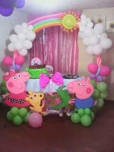 Peppa Party Setup Candy Theme Birthday Party, 2 Birthday, Fairy Birthday Party, 4th Birthday Parties, Birthday Party Decorations, Fiestas Peppa Pig, Pig Party, Ideas Decoración, Party Ideas