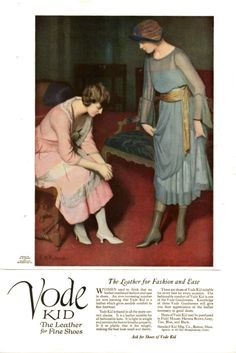 """To the 1920's...: Ad for Vode Kid Leather shoes. """"The Leather for Fashion and Ease."""""""