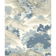 Crown Ordos Blue Eastern Toile Peelable Roll (Covers 56.4 sq. ft.) M1190 - The Home Depot