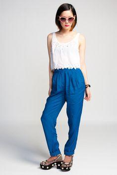 Something Else Tab Pant $149 #nataliewood #trousers #pants #highwaisted #highwaist #summer #blue