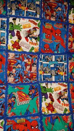 Super Cute...Super Hero rag quilt in blue by TwoQuiltedBirds, $49.99