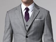 Grey suit, purple tie; i love nothing more than a man in a suit!