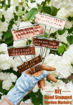 DIY Hand Stamped Copper Garden Markers | homeiswheretheboatis.net #garden #spring #DIY