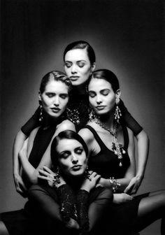Judit Mascó, Helena Barquilla, Celia Forner and Inés Sastre, photographed by Jeanloup Sieff for SpanishVogue, Paris, 1992.