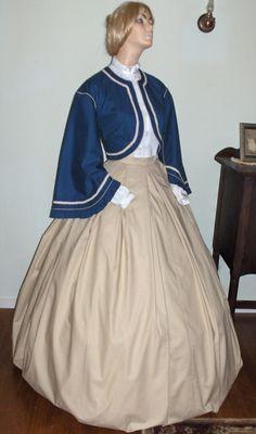 civil war era zouave  jacket patterns | JacketTrimed w/rouching and braid, plain skirt, Sample C