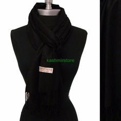 2Ply Elegant Pashmina/Cashmere Scarf/Wrap/Shawl Super Soft #Ec01 Black