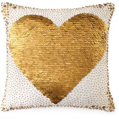Jonathan Adler White Heart Pillow (€280) ❤ liked on Polyvore featuring home, home decor, throw pillows, pillows, decor, gold, white, white accent pillows, jonathan adler home decor and heart home decor