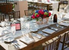Elegant Wood Tables Terracotta Centerpieces