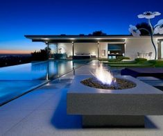 illuminated infinity pool