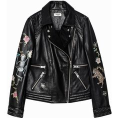 Kawai Tattoo Deluxe Jacket ($1,045) ❤ liked on Polyvore featuring outerwear, jackets, real leather jackets, tattoo jacket, leather jackets, genuine leather jackets and 100 leather jacket